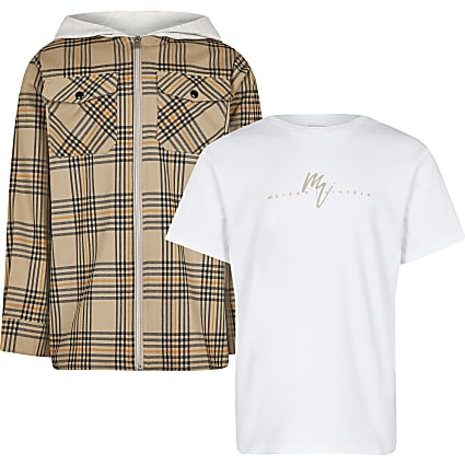 Boys stone check shirt outfit
