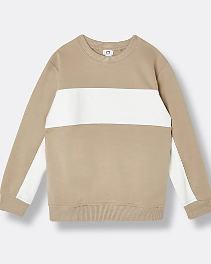 Boys stone colour block sweatshirt
