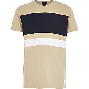Kiezelkleurig T-shirt met kleurvlakken voor jongens