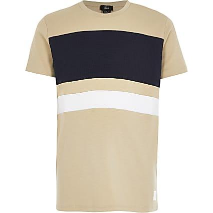 Boys stone colour blocked T-shirt