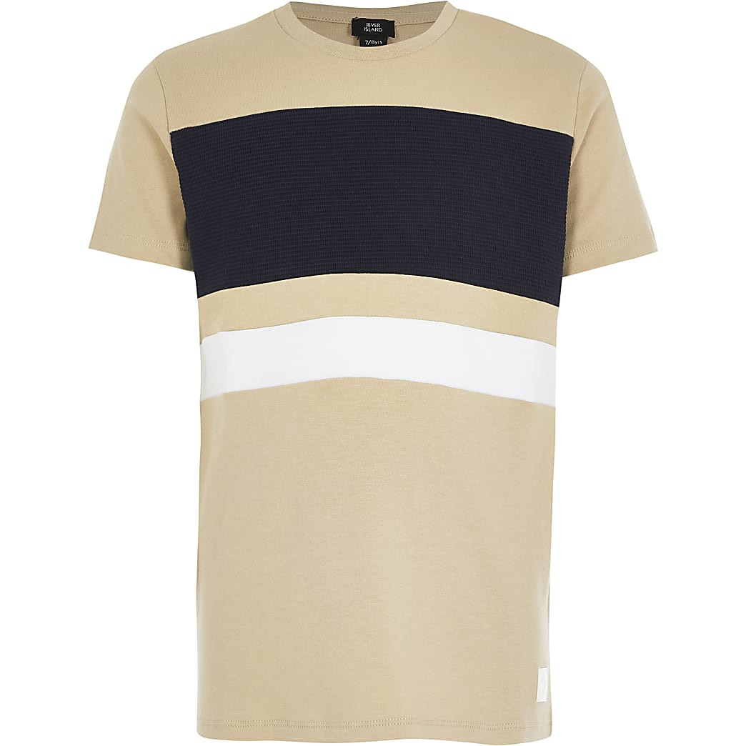 Boys stone colour blocked T-shirt