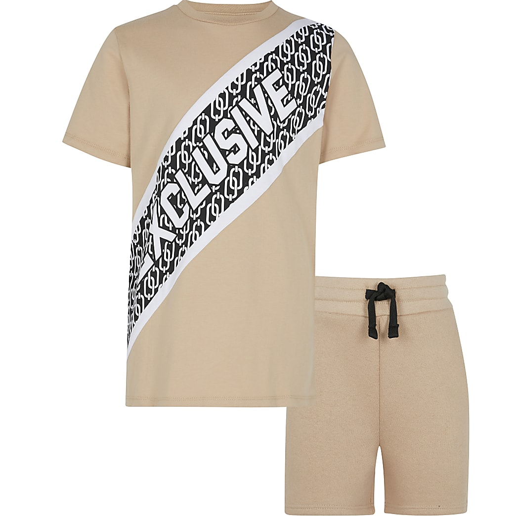 Boys stone 'Exclusive' print outfit