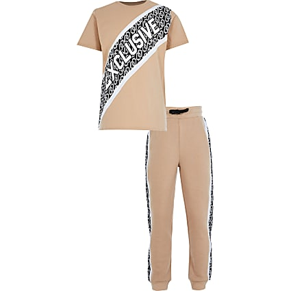 Boys stone 'Exclusive' t-shirt outfit