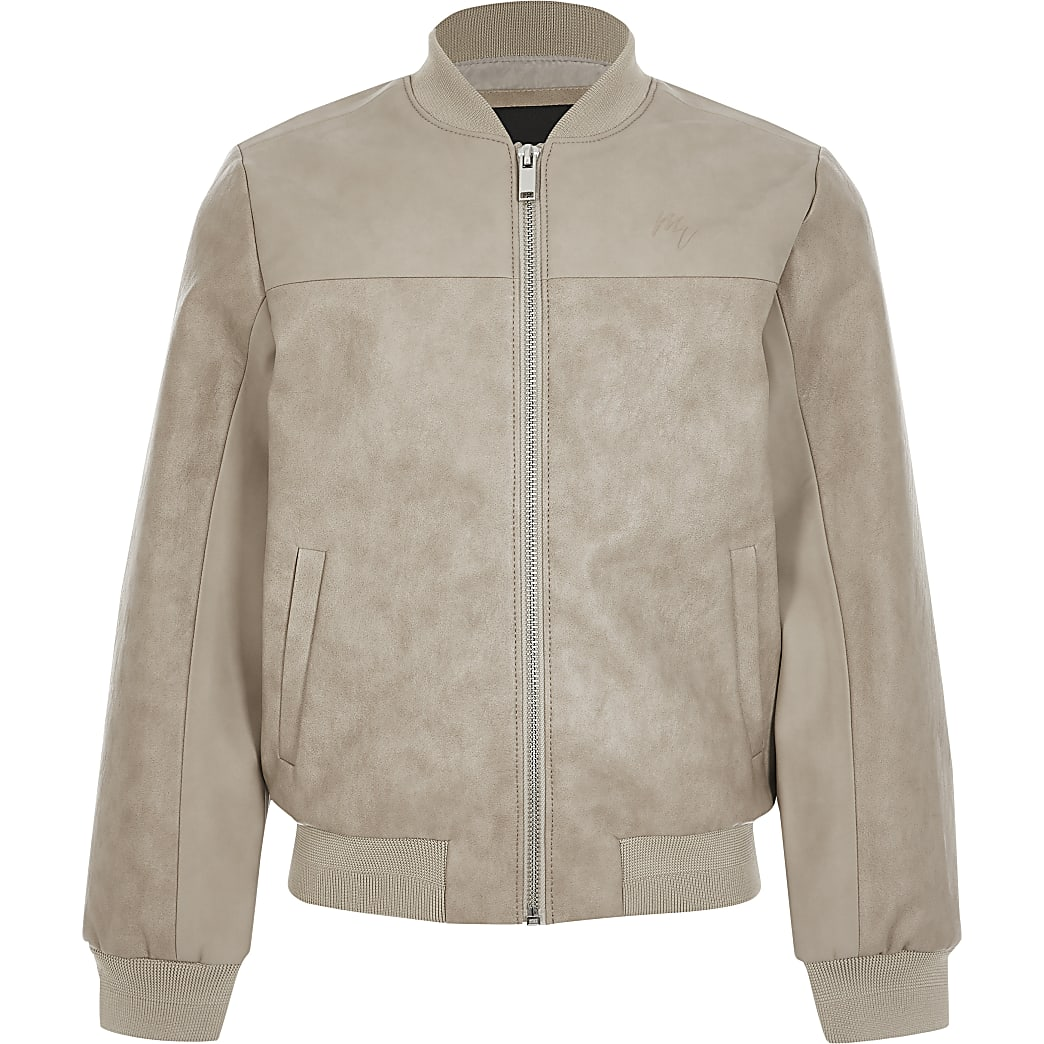 Boys stone faux leather bomber jacket