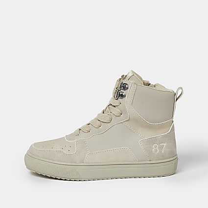 Boys stone faux leather high top trainers