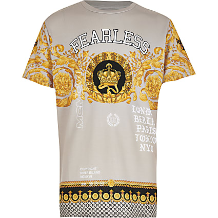 Boys stone 'Fearless' baroque print t-shirt