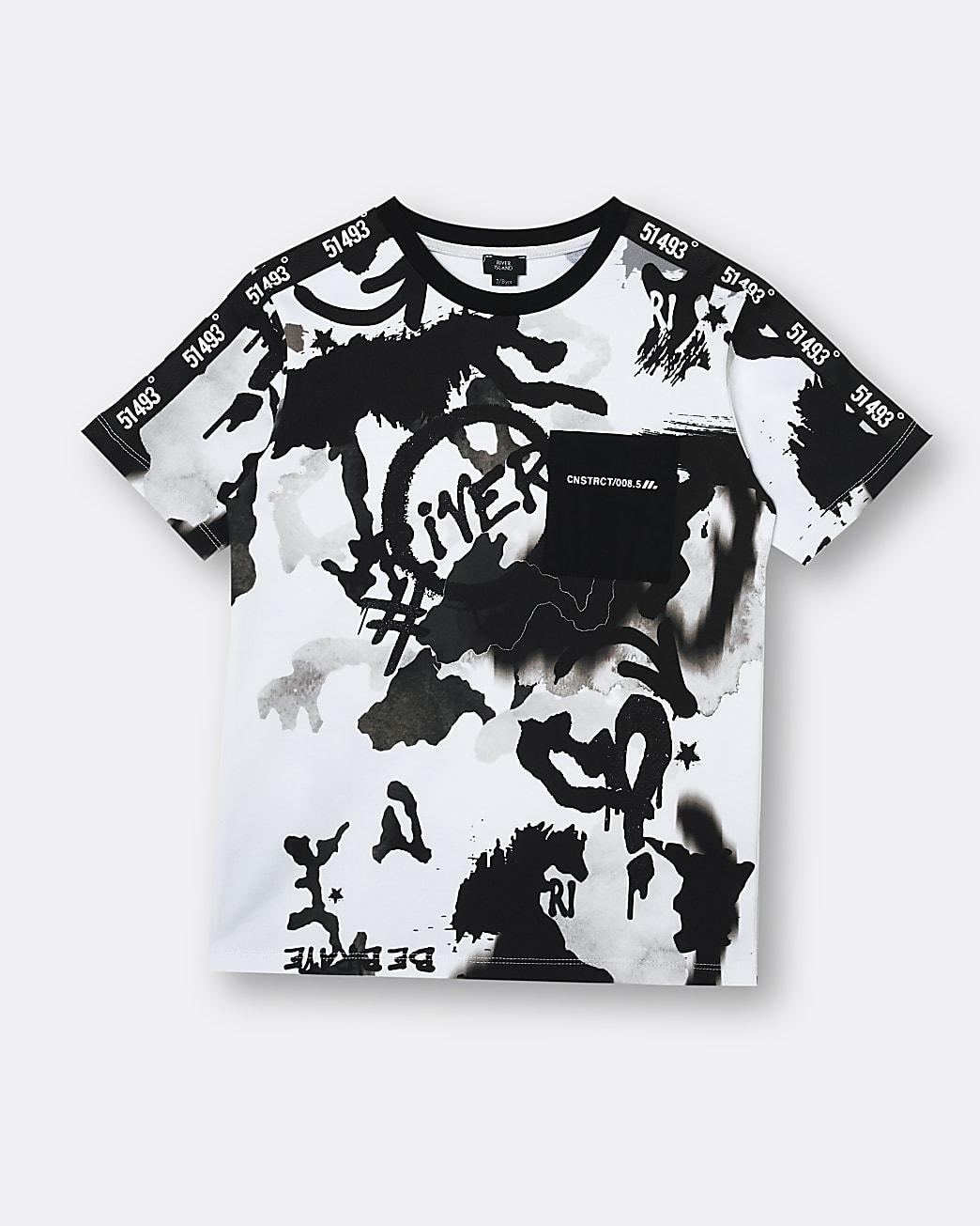 Boys stone graffiti print graphic t-shirt