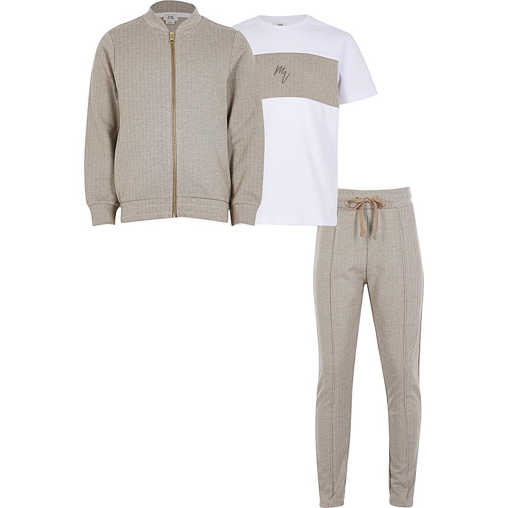 Boys stone herringbone 3 piece outfit