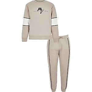 Maison Riviera Sweatshirt-Outfit in Steingrau für Jungen