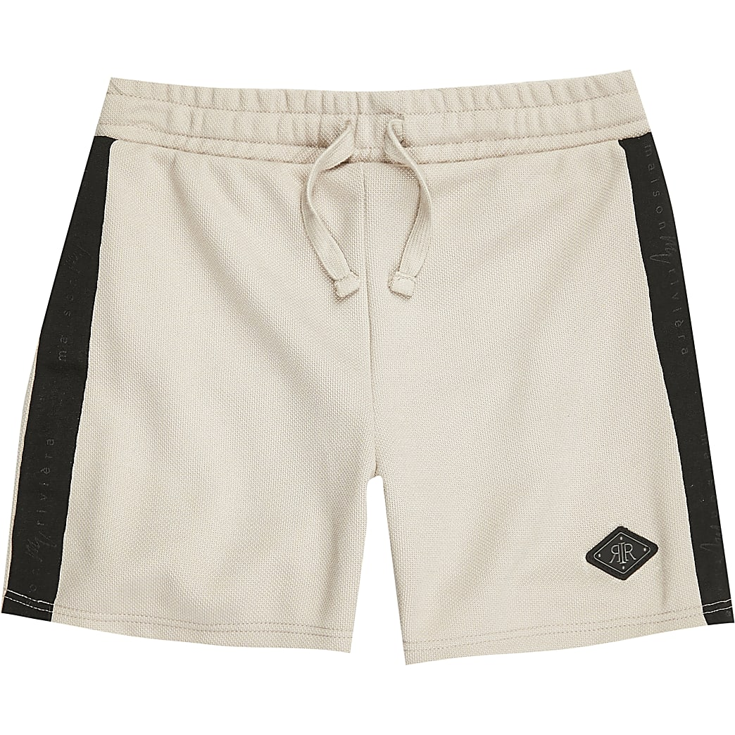 Boys stone 'Maison Riviera' tape shorts