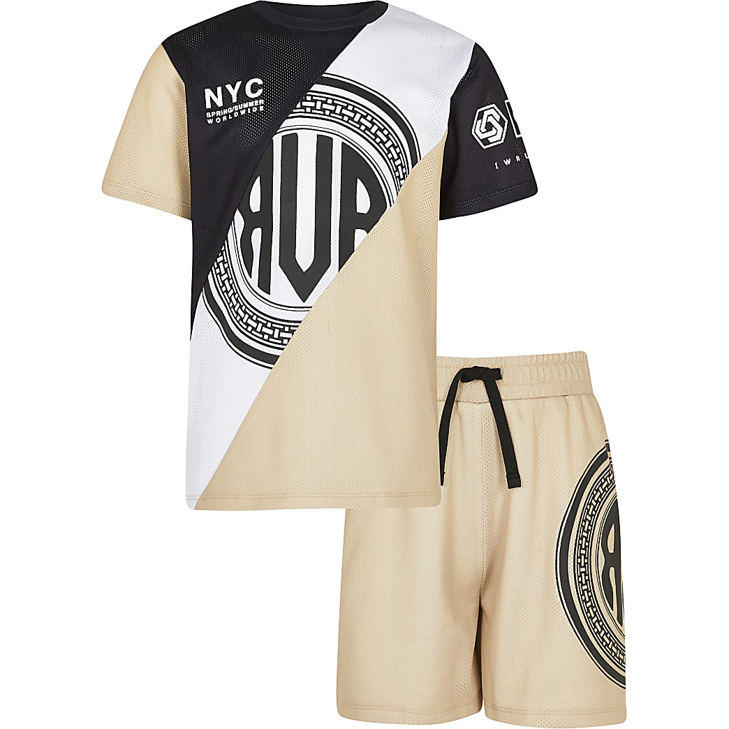 Boys stone mesh t-shirt and shorts outfit