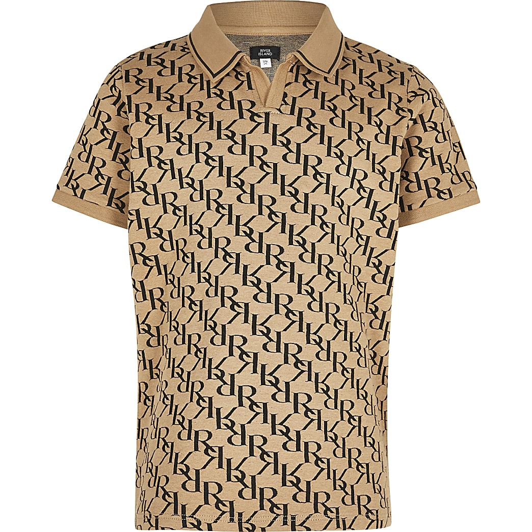 Boys stone monogram polo shirt