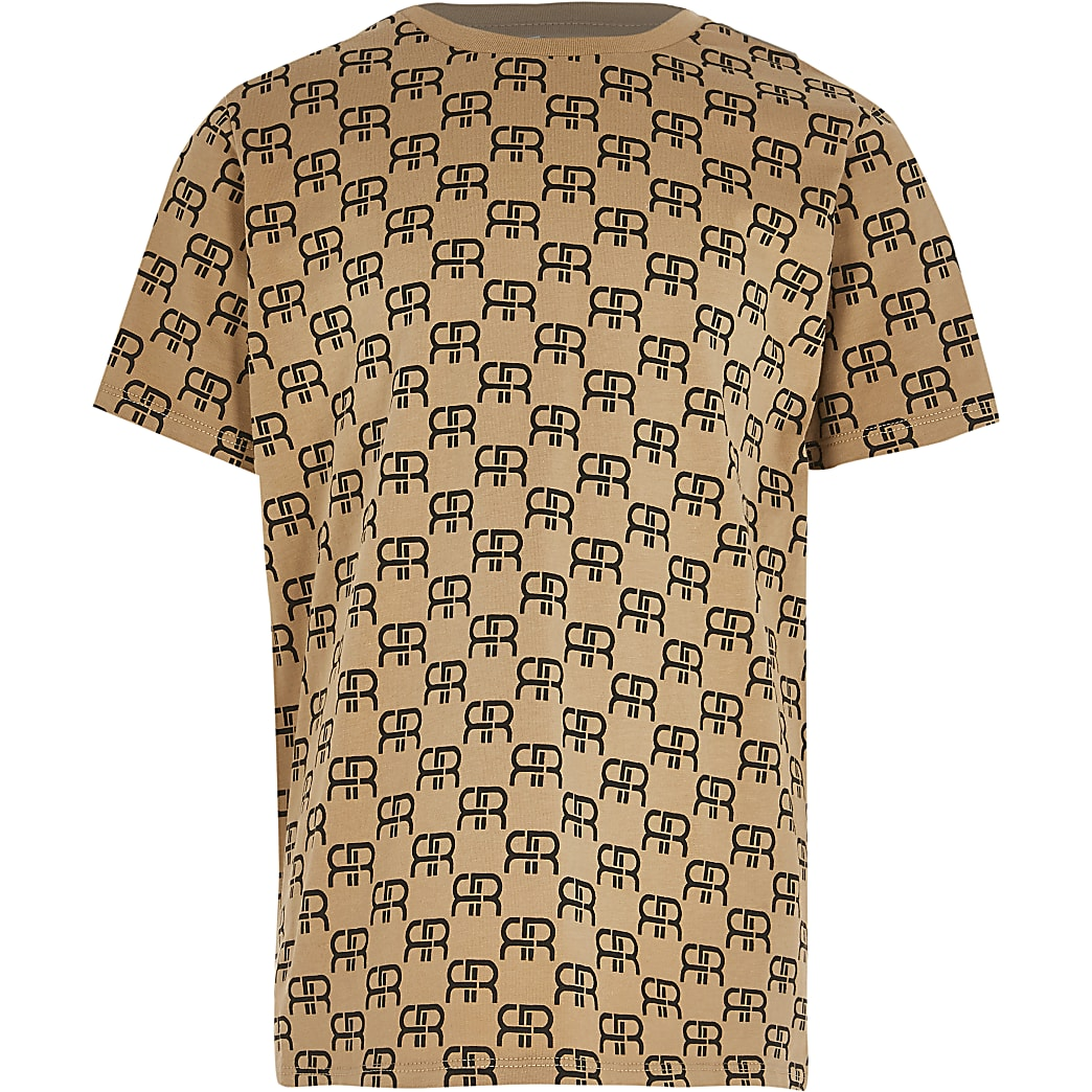 Boys stone monogram t-shirt