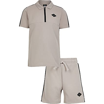 Boys stone pique polo short set