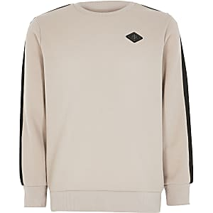 Boys stone pique tape sweatshirt