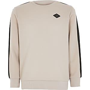 Steingraues Pikee-Sweatshirt mit einem Zierstreifen für Jungen