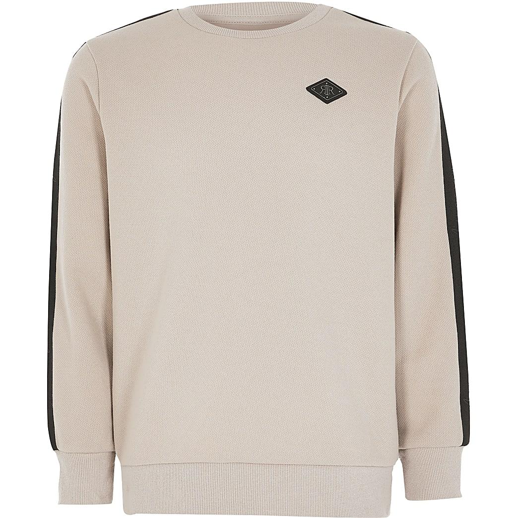 Boys stone pique tape sweatshirt