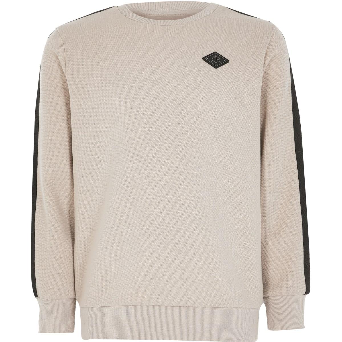 Kiezelkleurige sweater met piquébies voor jongens