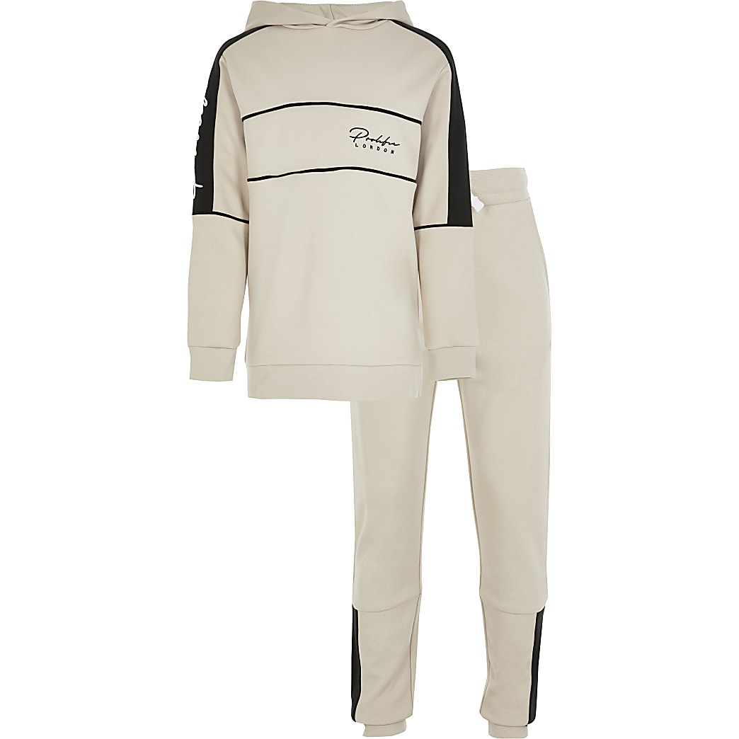 Boys stone Prolific colour blocked tracksuit