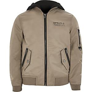 Boys stone Prolific hooded bomber jacket