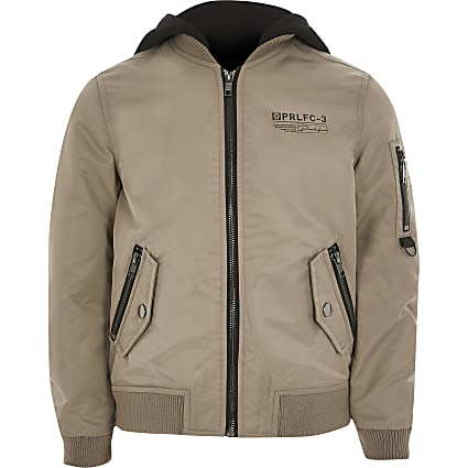 Boys stone Prolific hooded bomber jacket