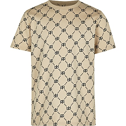 Boys stone RI monogram t-shirt