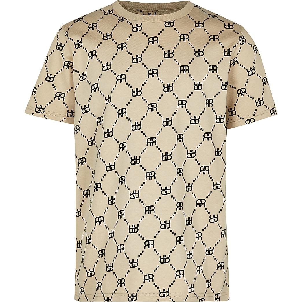 Boys stone RI monogram t-shirt