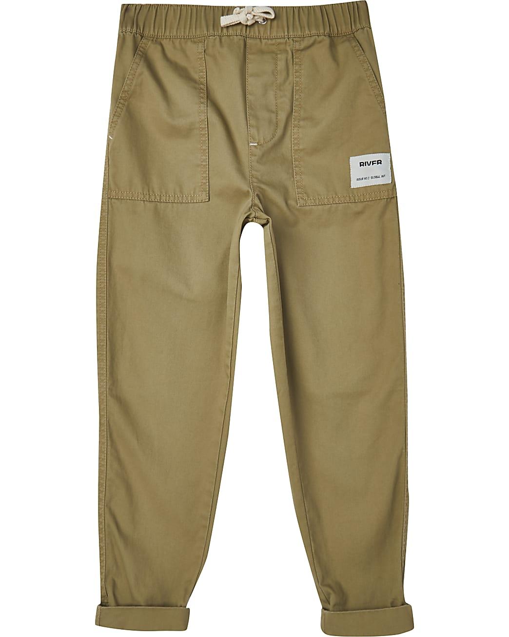 Boys stone RI pull on cargo trousers