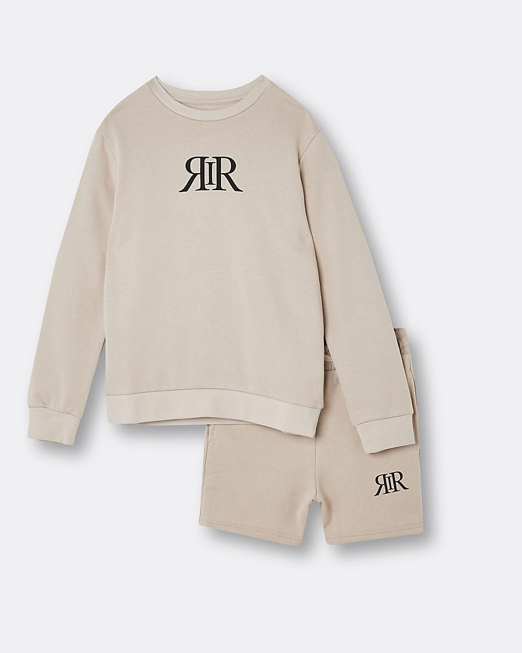 Boys stone RIR sweatshirt and shorts outfit