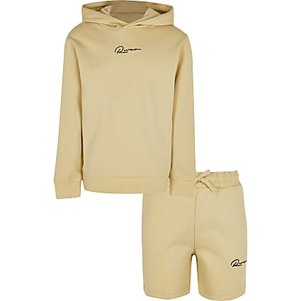 Boys stone 'River' hoodie and shorts outfit
