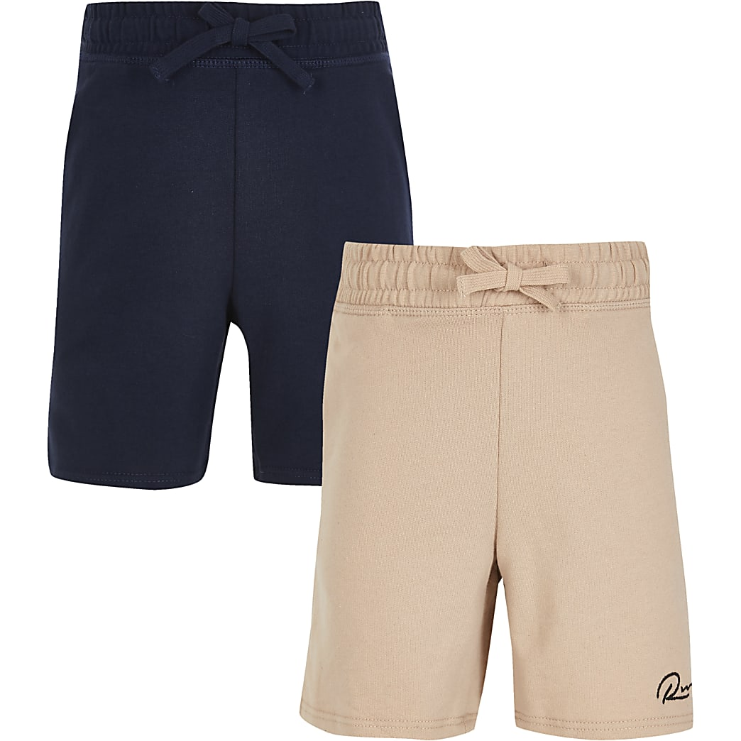 Boys stone 'River' shorts 2 pack