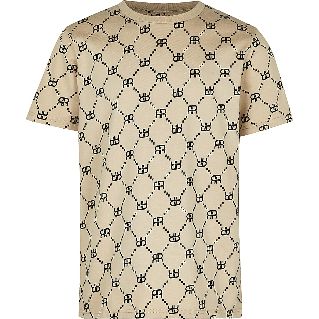 Boys stone RR monogram t-shirt