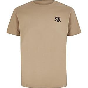 Kiezelkleurig T-shirt met RVR-borduursel voor jongens
