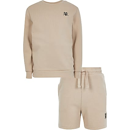 Boys stone RVR sweat and short set