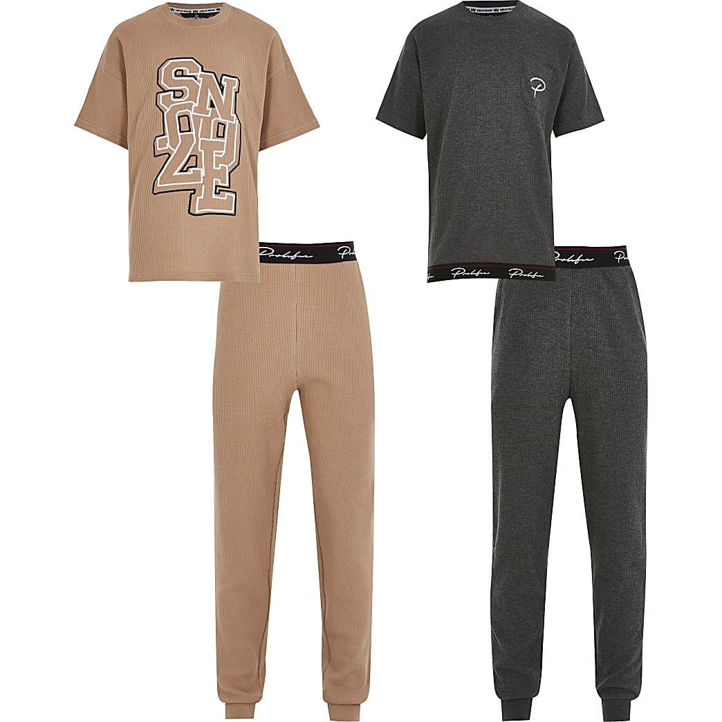 Boys stone snooze waffle pyjamas 2 pack set