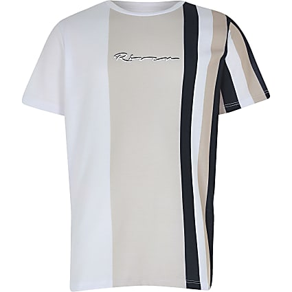 Boys stone stripe print t-shirt
