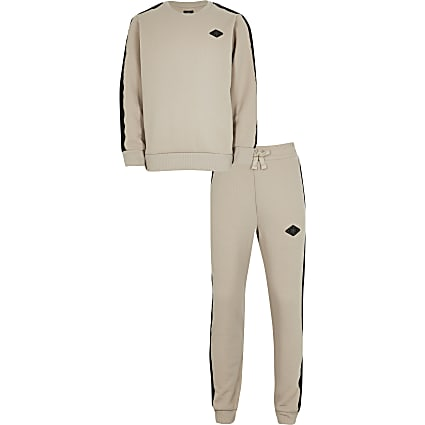 Boys stone sweat and jogger outfit