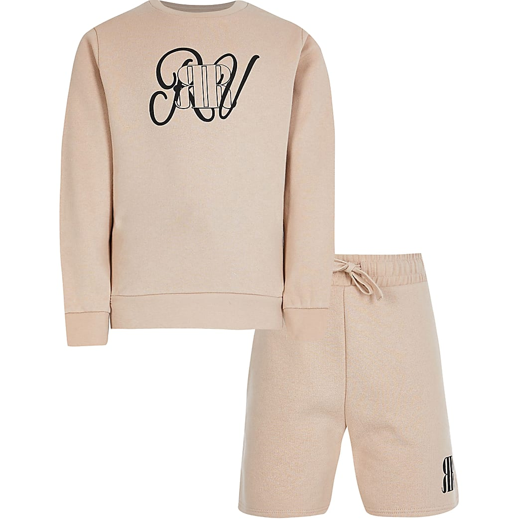 Boys stone sweatshirt and short outfit