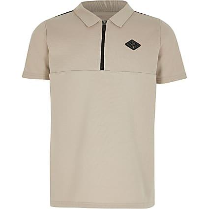 Boys stone tape half zip polo shirt