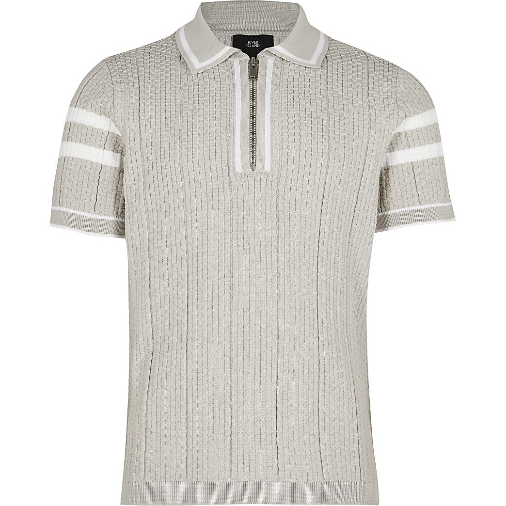 Boys stone waffle stitch polo shirt