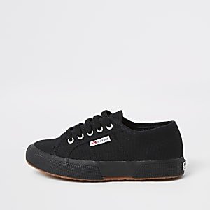 Boys Superga black lace-up trainers