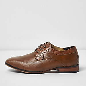 Boys tan brown pointed brogue shoes
