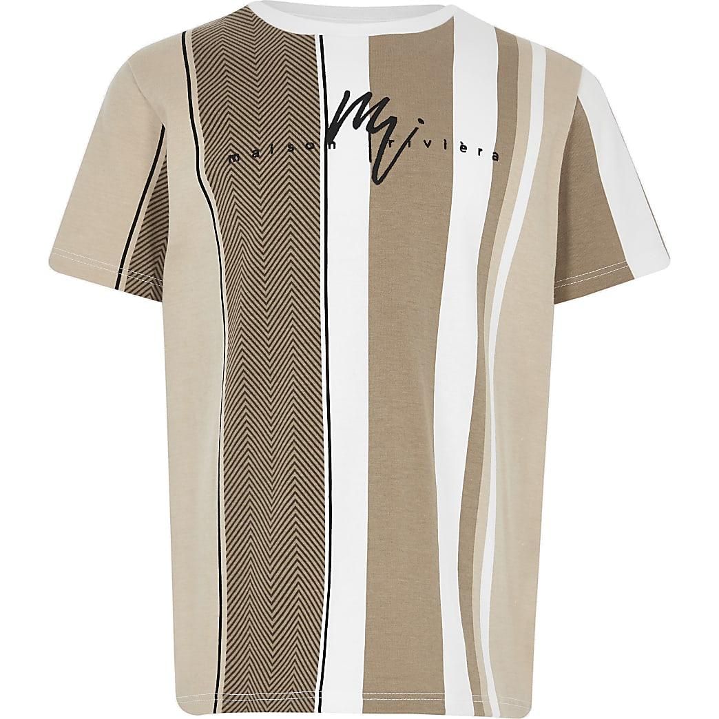 Boys tan herringbone stripe T-shirt