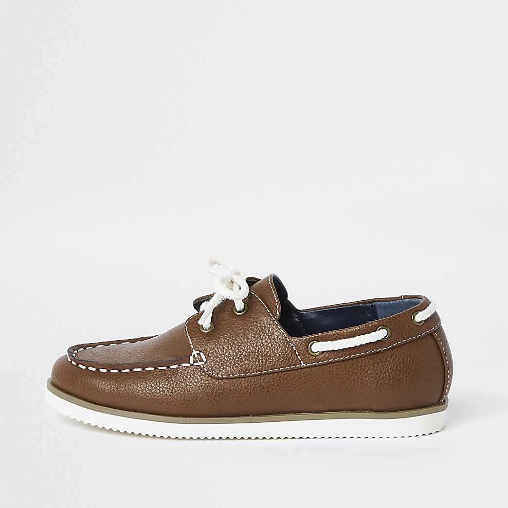 Boys tan lace-up boat shoes