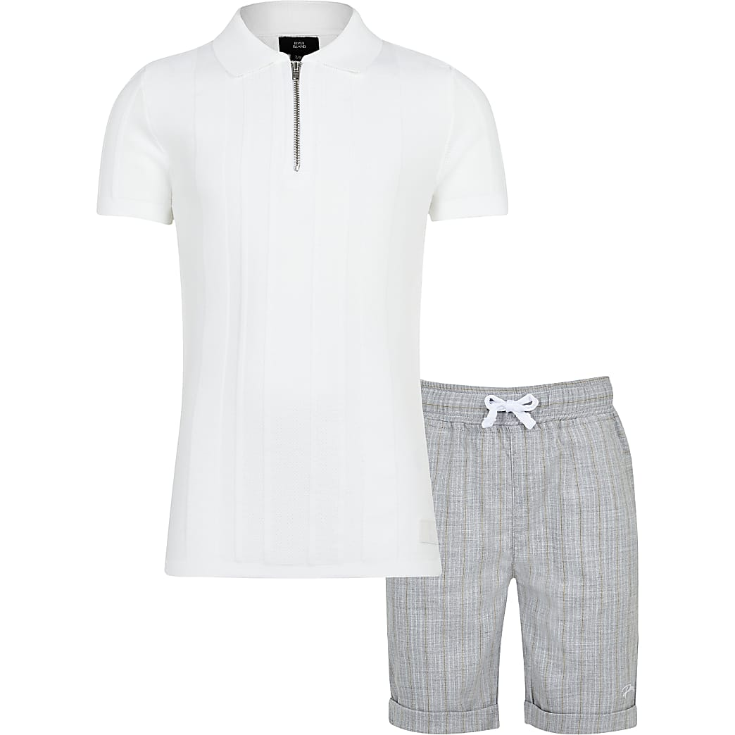 Boys textured polo and shorts outfit