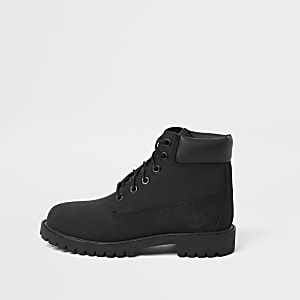 Boys Timberland black lace-up boots
