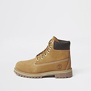 Timberland - Bruine laarzen met vetersluiting voor jongens
