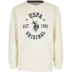 U.S. Polo Assn. - Crèmekleurige sweater voor jongens