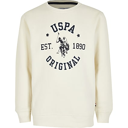 Boys U.S. Polo Assn. cream sweatshirt