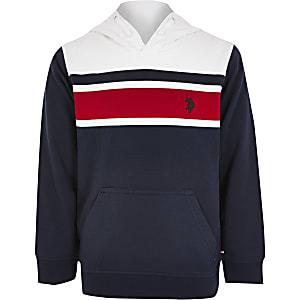 U.S. Polo Assn.– Marineblauer Hoodie in Blockfarben für Jungen